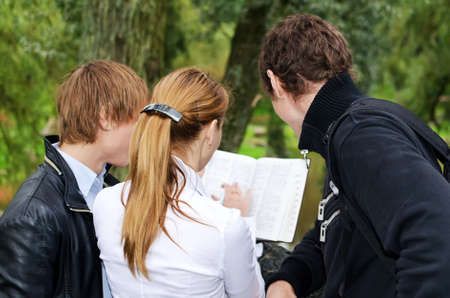 Students studying outdoors. Back view photo