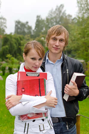 Two students studying outdoors Stock Photo - 15148303