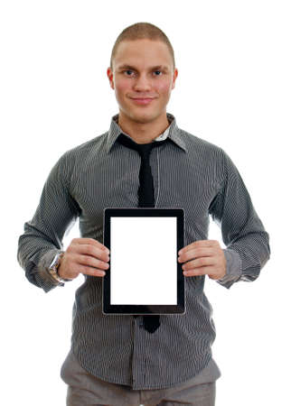 Handsome man showing touch screen tablet pc with blank screen. Isolated on white photo