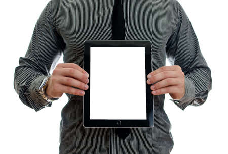 Man showing touch screen tablet pc with blank screen. Isolated on white photo