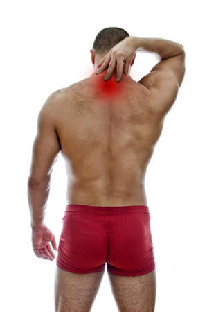 Rear view of muscular man with neck pain. Isolated on white.  Stock Photo - 15440186
