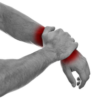 Close up view of male hands with wrist pain  Isolated on white  black and white Stock Photo - 15440098