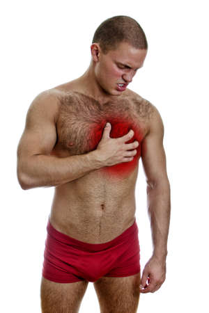 Front view of muscular man with chest pain  Isolated on white Stock Photo - 15440162