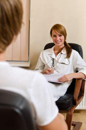 Male patient visiting his psychologist photo