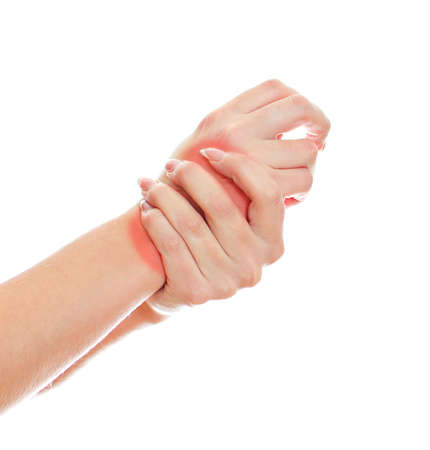 Close up view of female hands with wrist pain. Isolated on white. Stock Photo - 16194083
