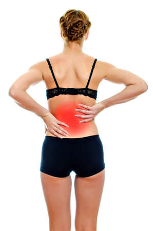 Rear view of young woman with spinal pain. Isolated on white Stock Photo - 16194094