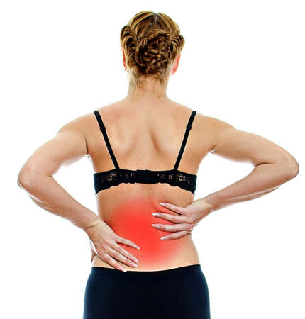 Rear view of young woman with spinal pain. Isolated on white Stock Photo - 16194084