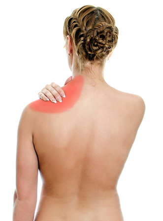 Young woman suffering from pain in shoulder. Isolated on white. Stock Photo - 16194110