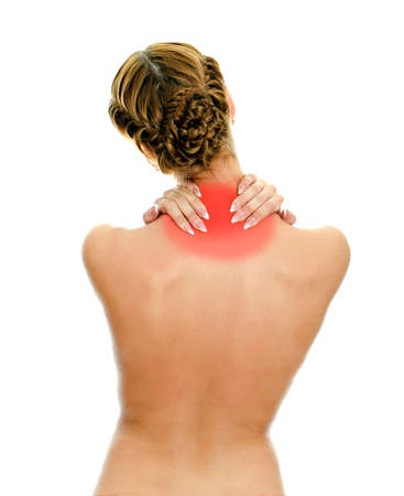 Rear view of young woman with neck pain. Isolated on white. Stock Photo - 16194090