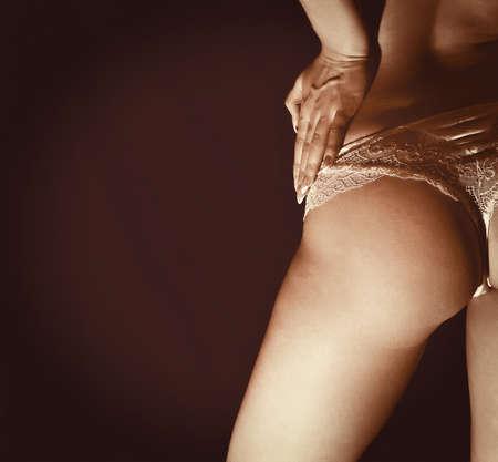erotic fantasy: Close up view of slim female buttock