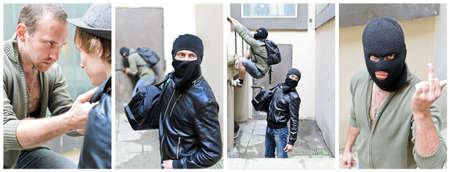 The story of robbery  Collage made of four pictures photo