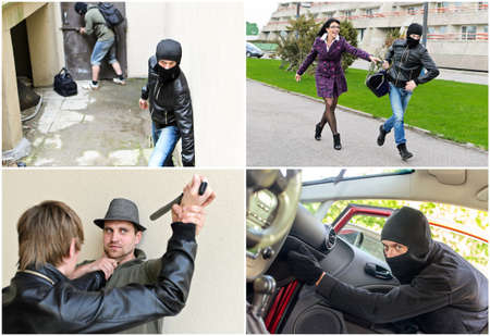robberies: Story of different robberies  Collage made of four pictures Stock Photo