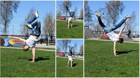 Break-dancer showing his skills   photo