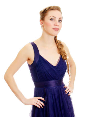 Woman with pigtail in blue dress. Isolated on white. photo