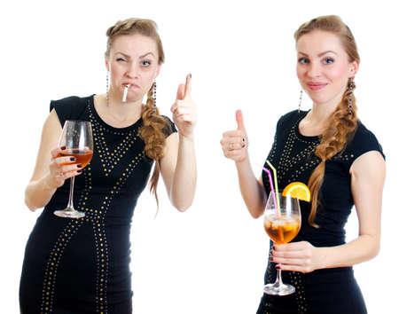 alcoholismo: La diferencia entre la mujer borracho y sobrio aislado en blanco Foto de archivo