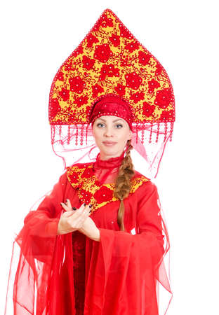 kokoshnik: Woman in russian traditional clothes  Isolated on white  Stock Photo
