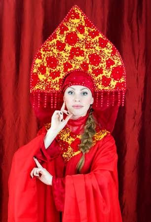 kokoshnik: Woman in russian traditional clothes posing