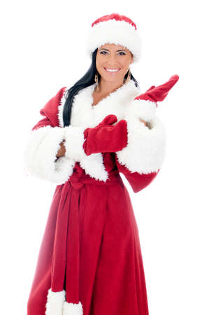 ded moroz: Young woman in santa clause costume. Isolated on white Stock Photo