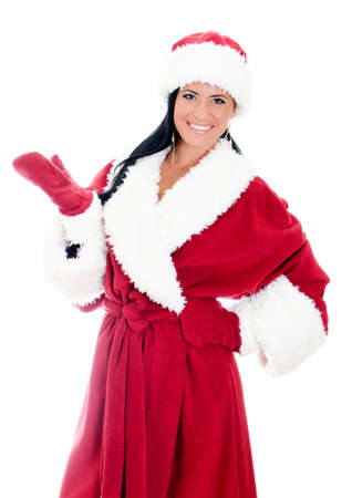 Young woman in santa clause costume. Isolated on white Stock Photo - 17038616