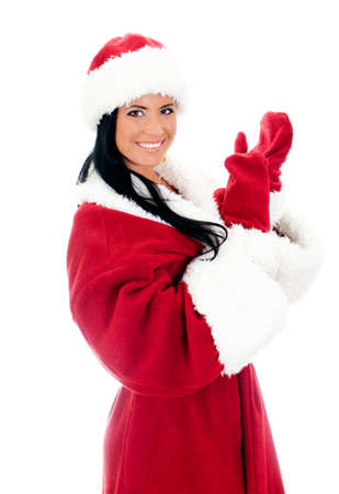 Young woman in santa clause costume. Isolated on white photo