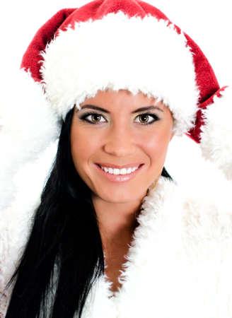 Pretty santa woman portrait . Isolated on white photo