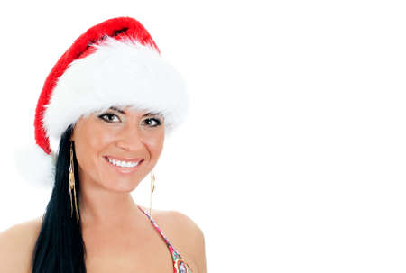 Portrait of young sexy woman wearing christmas hat. Isolated on white Stock Photo - 17038531