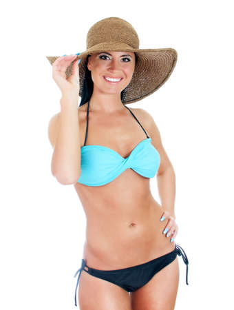 Pretty young woman in bikini and straw hat. Isolated on white Stock Photo - 17038602