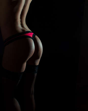 pink panties: Rear view of sexual female body in red panties