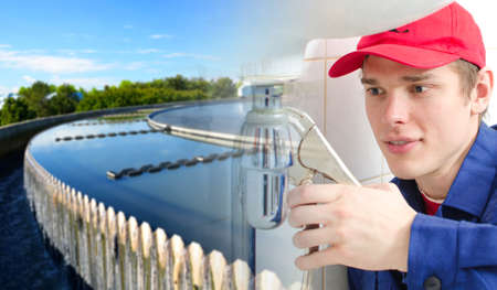 water purification plant: Plumber in uniform repairing old pipeline  Collage