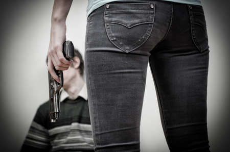Woman killing man  Home violence concept Stock Photo