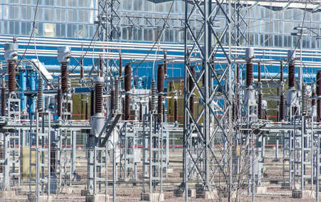 Voltage transformers. Part of Electric power plant  photo