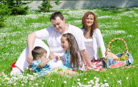 幸せな家族は公園でピクニックをしています。