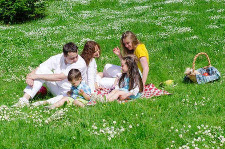 Company of friends with children having fun on a picnic photo