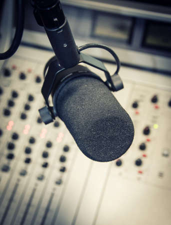 Part of a mixing panel in a radio studio photo