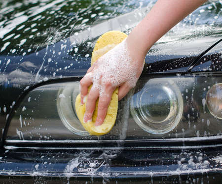 Female hand with yellow sponge washing car photo