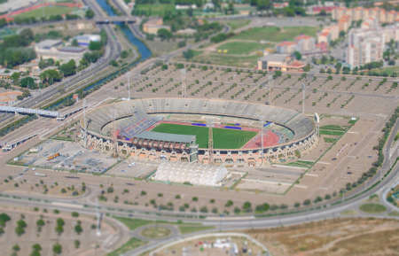 Aerial view of football stadium  Tilt-shift photo  photo