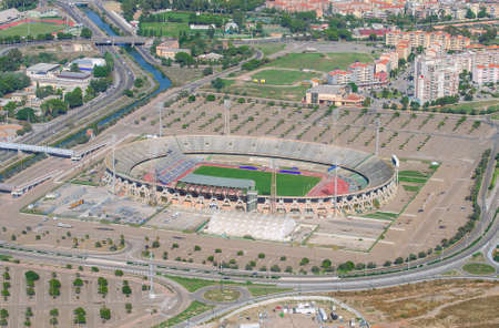 Aerial view of football stadium photo