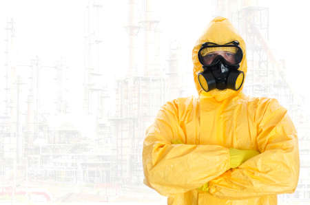 Worker in protective chemical suit. Space for your text. Stock Photo