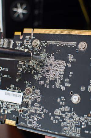 rosin: Close-up of repairing equipment with soldering iron Stock Photo