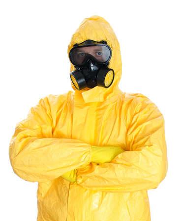 El hombre en traje de materiales peligrosos de protección aislado en blanco Foto de archivo - 23876559