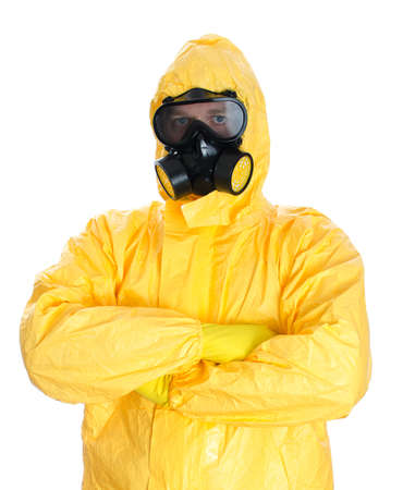 hazmat: Man in protective hazmat suit  Isolated on white