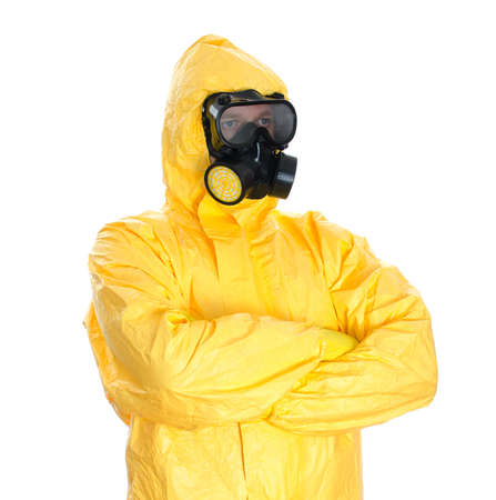 Man in protective hazmat suit  Isolated on white Stock Photo - 23876557