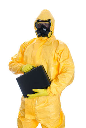 biologic: Man with briefcase in protective hazmat suit  Isolated on white