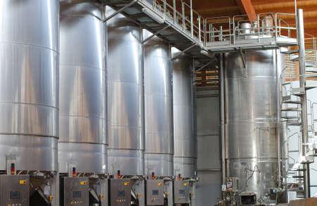 Wine manufacturing  Modern winery tanks