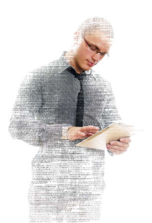 Male programmer with tablet pc on white  photo