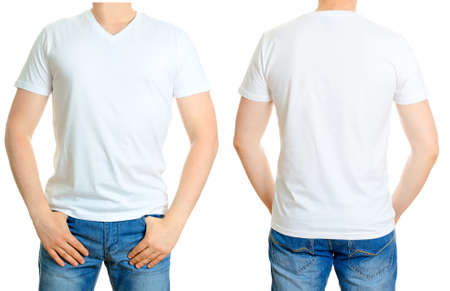 t short: Man in white t-shirt  Isolated on white