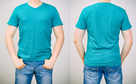 Man in turquoise t-shirt  Grey  photo