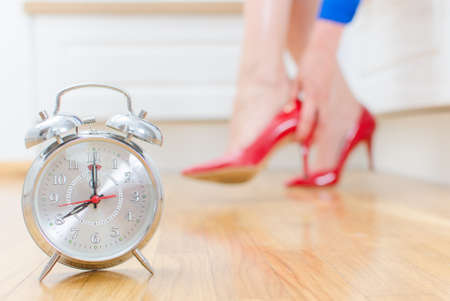 Schedule of the day  Woman goes to work