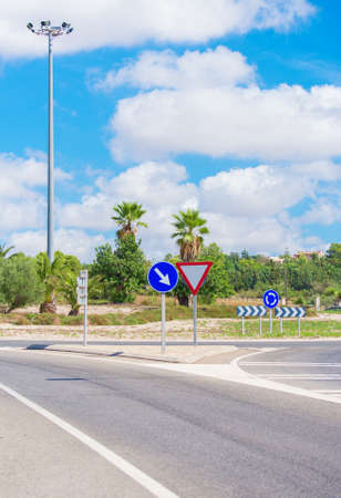 roundabout: Road and roundabout on the the Balearic Islands. Stock Photo