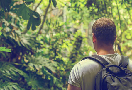 Tourist with backpack in the jungle. Vintage effect. Space for your text.